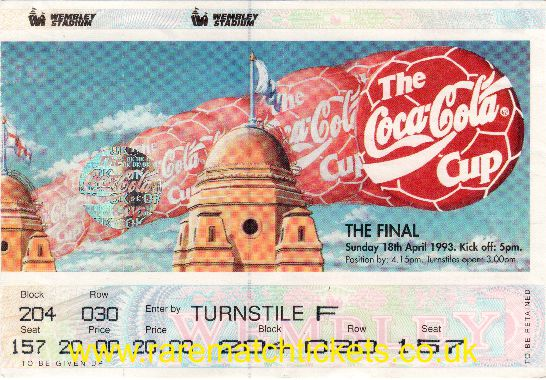 1993 lc final ARSENAL 2 SHEFFIELD WEDNESDAY 1 (unused)